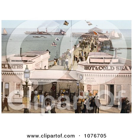 Historical the Admission Stand, Baths and Steamers at the Clacton Pier in Clacton-on-Sea, Essex, England, UK - Royalty Free Stock Photography  by JVPD