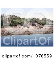 Historical The Beach And Leas Cliff Lift In Folkestone Kent England Royalty Free Stock Photography