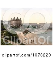 Historical The Beach In Front Of The Grand Hotel In Scarborough North Yorkshire England UK Royalty Free Stock Photography