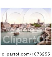 Historical The Bridge Over The Severn River Near The Worcester Cathedral In Worcester Worcestershire West Midlands England Royalty Free Stock Photography