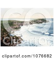 Historical The Coast Of Newquay Towan Head Cornwall England Royalty Free Stock Photography
