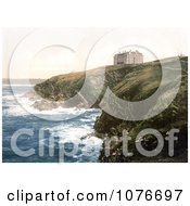 Historical The Coastal Headland Hotel On Beacon Cove In Newquay Cornwall England Royalty Free Stock Photography