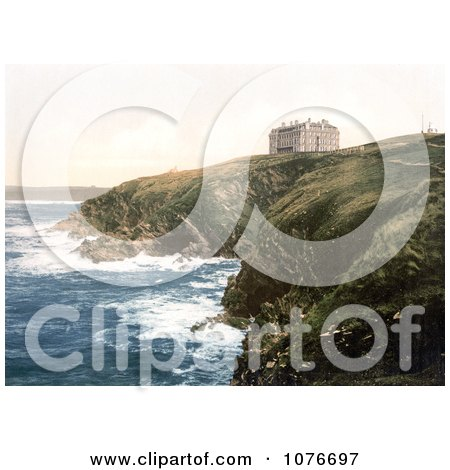 Historical the Coastal Headland Hotel on Beacon Cove in Newquay Cornwall England - Royalty Free Stock Photography  by JVPD