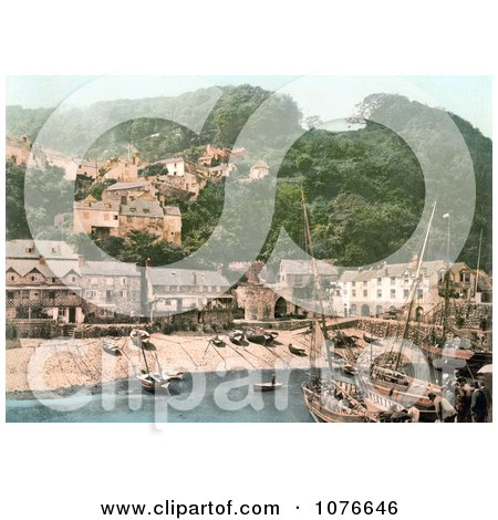 Historical the Harbor and Red Lion Hotel in Clovelly Devon England - Royalty Free Stock Photography  by JVPD