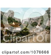 Historical The Lion Rock Cliffs And Village Buildings Of Cheddar England Royalty Free Stock Photography