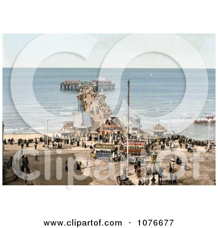 Historical the North Pier on the Irish Sea in Blackpool, Lancashire, England - Royalty Free Stock Photography  by JVPD