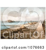 Historical The Promenade Beach And The Brighton Marine Palace And Pier At Brighton England Royalty Free Stock Photography