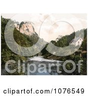 Historical The Tor Cottage High Tor Hotel On The River Derwent With A View Of The High Tor Matlock Derbyshire England Royalty Free Stock Photography