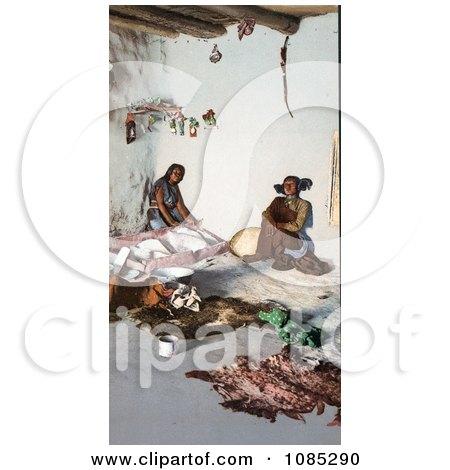 Hopi Women Preparing Hides At The Matate, Moki Pueblos, Arizona - Free Photochrome Stock Photo by JVPD