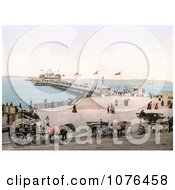 Horse Drawn Carriages And People At The West End Pier In Morecambe Lancashire England UK Royalty Free Stock Photography