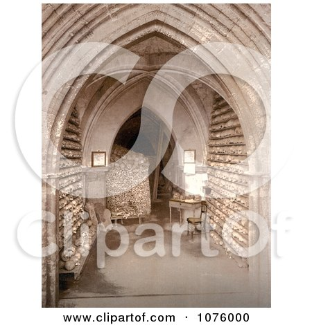 Human Skulls and Skeletal Remains Stacked in the Ossuary Bone Store of the Church Crypt in Hythe Kent England - Royalty Free Stock Photography  by JVPD