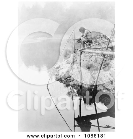 Hupa Indian Using Fishing Net - Free Historical Stock Photography by JVPD