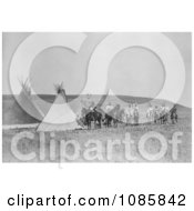 Indian War Party Near Tipis Free Historical Stock Photography