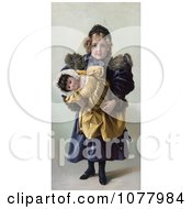 Innocent Little Girl Holding Her Toy Doll Royalty Free Historical Clip Art