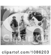 Inuit Eskimos With Igloo Free Historical Stock Photography