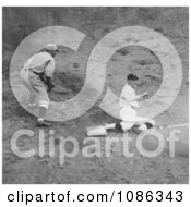 Joe Judge Stealing Third Base During The 924 World Series Between The Washington Senators And The New York Giants Free Historical Baseball Stock Photography by JVPD