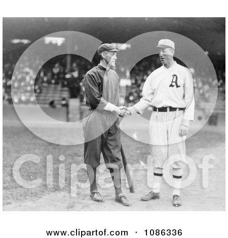 Johnny Evers Shaking Hands With Eddie Plank in 1914 - Free Historical Baseball Stock Photography by JVPD