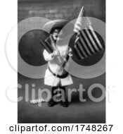 Kid Holding Fireworks And An American Flag For Independence Day