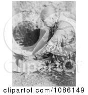 Klamath Woman Grinding Wokas Free Historical Stock Photography by JVPD
