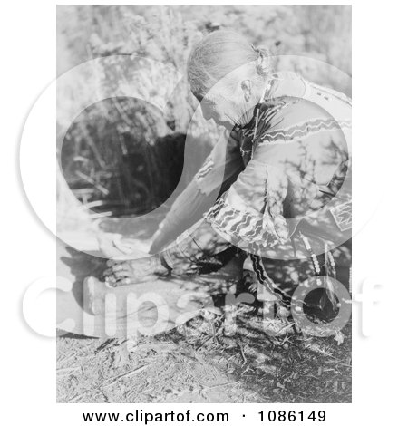 Klamath Woman Grinding Wokas - Free Historical Stock Photography by JVPD