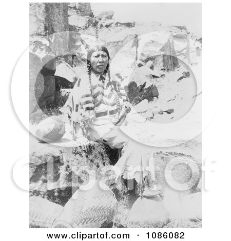 Klickitat Native American Woman Seated Near Baskets - Free Historical Stock Photography by JVPD