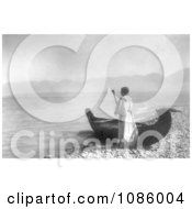 Kutenai Woman With Canoe Free Historical Stock Photography by JVPD