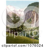 Lauterbrunnen And Staubbach Falls Interlaken Berne Bernese Oberland Switzerland Royalty Free Stock Photography