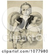 Little Boy Or Girl Sitting In A Chair Holding A Riding Crop And Hat Royalty Free Historical Clip Art