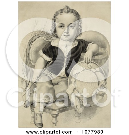 Little Boy or Girl Sitting in a Chair, Holding a Riding Crop and Hat - Royalty Free Historical Clip Art  by JVPD
