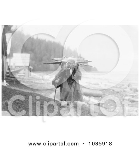 Makah Woman Carrying Faggots - Free Historical Stock Photography by JVPD