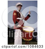 Male Marine Drummer In A Red Black And White Uniform Free Stock Photography