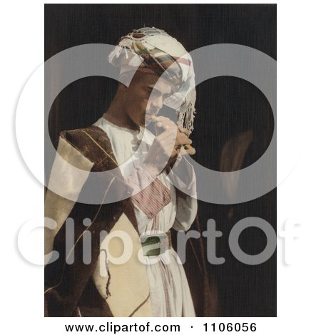 Male Shepherd Playing His Flute - Royalty Free Historical Stock Photo by JVPD