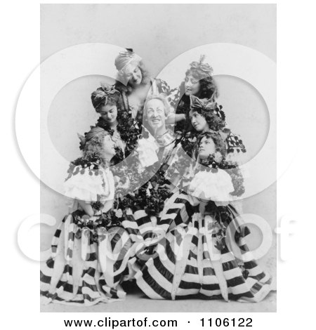 Man, Actor De Wolf Hopper, Surrounded By A Group Of Beautiful Ladies In Dresses, Performing During The Broadway Musical, El Capitan, 1896 - Royalty Free Historical Stock Photog by JVPD