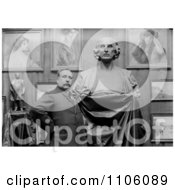 Man Artist Ettore Ximenes Proudly Posing In Front Of His Bust Statue Of Christopher Columbus In His Studio Royalty Free Historical Stock Photo