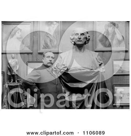 Man, Artist Ettore Ximenes, Proudly Posing In Front Of His Bust Statue Of Christopher Columbus In His Studio - Royalty Free Historical Stock Photo by JVPD