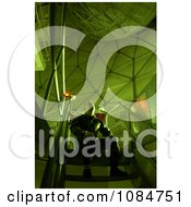 Man Watching A Moving Satellite Free Stock Photography