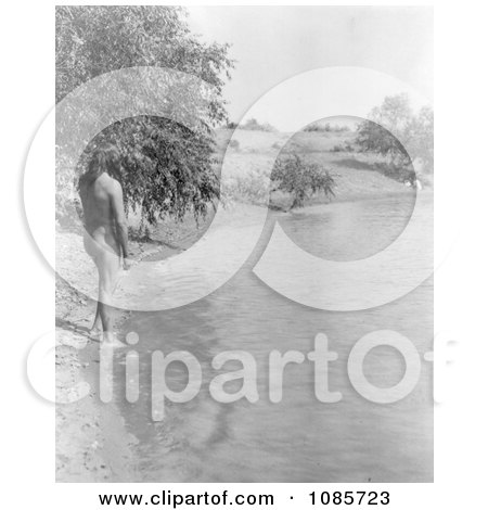 Mandan Indian About to Bathe in a Stream - Free Historical Stock Photography by JVPD