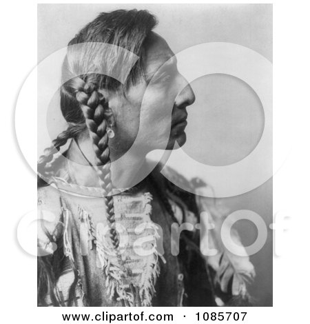 Mandan Native American Man With Braids, Spotted Bull - Free Historical Stock Photography by JVPD