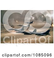 Military Aircraft Over Oil Fires Kuwaiti Operation Desert Storm Gulf War Free Stock Photography by JVPD