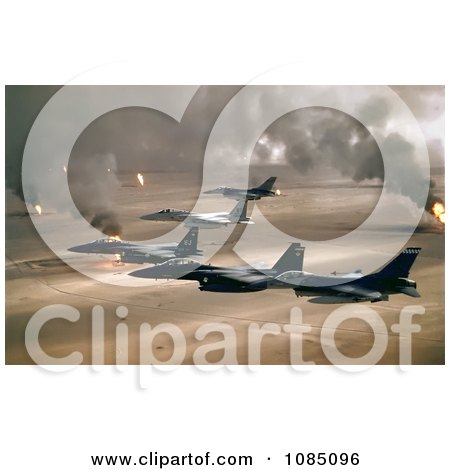 Military Aircraft Over Oil Fires, Kuwaiti, Operation Desert Storm, Gulf War - Free Stock Photography by JVPD