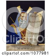 Moses Holding A Staff And A Tablet With The Ten Commandments On A Tablet Royalty Free Historical Clip Art