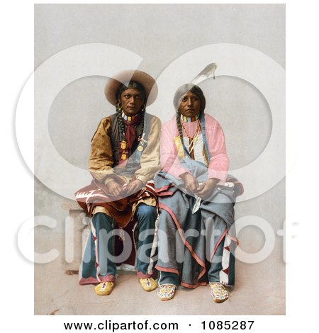 Native American Couple, Pee Viggi And His Wife, Sitting Side By Side - Free Photochrome Stock Photo by JVPD