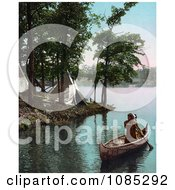 Native American Indian Man Paddling Past Tipis In A Boat Free Photochrome Stock Photo