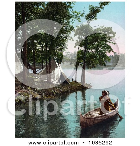 Native American Indian Man Paddling Past Tipis In A Boat - Free Photochrome Stock Photo by JVPD