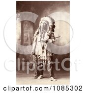 Native American Named Chief American Horse Oglala Sioux Indian In Full Regalia And Feathered Headdress Free Historical Stock Photography by JVPD