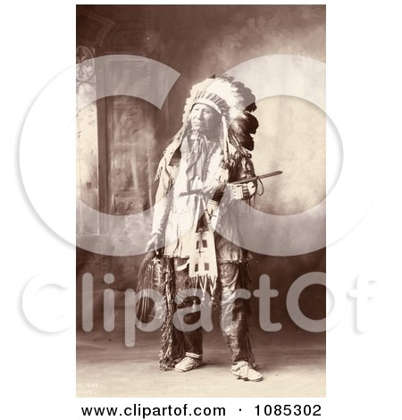 Native American Named Chief American Horse, Oglala Sioux Indian, In Full Regalia And Feathered Headdress - Free Historical Stock Photography by JVPD