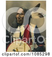 Native American Named Strikes With Nose Oglala Sioux Chief With Two Feathers In His Hair Looking Off To The Left Free Photochrome Stock Photo