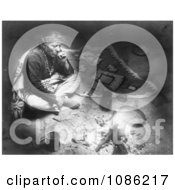 Navajo Indian Smoking By Fire Free Historical Stock Photography by JVPD
