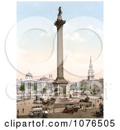 NelsonS Column Statue Of King George IV St Martin In The Fields Church And The National Gallery In Trafalgar Square London England Royalty Free Stock Photography