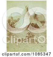 Nez Perce Indians And Tipis Free Historical Stock Photography